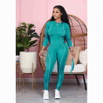 Solid Color Skinny Sexy Long Sleeve Jumpsuit Without Mask LS-0319