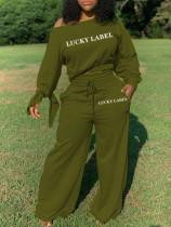 Letter Print Long Sleeve Wide Leg Pants 2 Piece Sets CQ-072