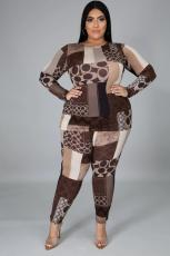 Plus Size 5XL Casual Printed Two Piece Pants Set Without Mask BMF-042