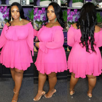 Plus Size 5XL Solid Sexy Slash Neck Ruffled Dress CYA-1034