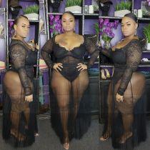 Plus Size 5XL Sexy Lace See Though 2 Piece Skirt Set CYA-1037