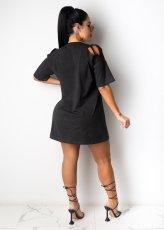 Casual Loose Hole Short Sleeve Dress CYA-8731