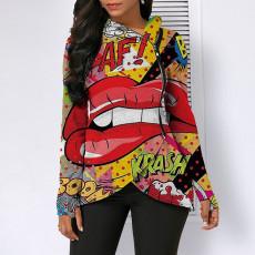 Fashion Lip Print Irregular Hood Zipper Top GLF-8058