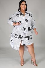 Plus Size 5XL Newspaper Print Irregular Shirt Dress BMF-038