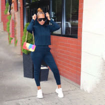 Fashion Casual Sports Hooded Long Sleeve Solid Color Two Piece Set MGF-8034