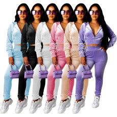 Casual Velvet Zipper Two Piece Pants Set MOF-5189