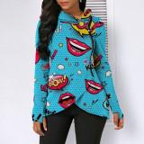 Fashion Lip Print Irregular Hood Zipper Top GLF-8059