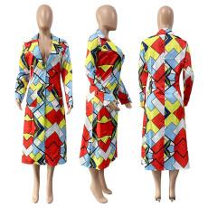 Plus Size Colorful Geometric Plaid Suit Collar Long Coat GLF-8056