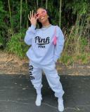 Fashion Casual Pink Letter Printing Sports Two Piece Set HTF-6039