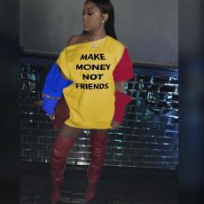 Plus Size Letter Print Patchwork Sweatshirt Dress BLI-2169