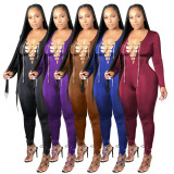Solid Sexy Lace Up Hollow Skinny Jumpsuits PN-6617
