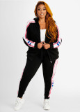Plus Size 5XL Tracksuit Hooded Zipper 2 Piece Sets BMF-040
