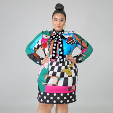 Plus Size 4XL Fashion Print Scarves Long Sleeve Mini Dress ONY-5061