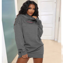 Plus Size Casual Embroidery Letter Hoodies Dress SHE-7220