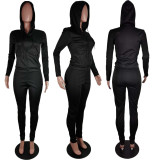 Solid Hooded Zipper Two Piece Pants Set AWF-5810