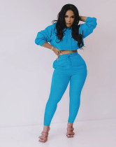 Simple Fashion Solid Color Hooded Sweatshirts Two Piece Set MYF-173