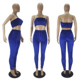Sexy Fashion Velvet Tube Top And Pants Two Piece Set SHD-9329