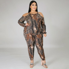 Plus Size 4XL Casual Snake Print Long Sleeve Off Shoulder Strap Long Sleeve Trousers Suit ONY-5062