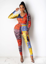 Casual Printed Long Sleeve Two Piece Pants Set SHA-6189