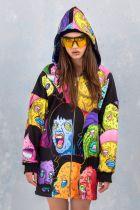 Casual Loose Hooded Zipper Printed Dress LSL-6380