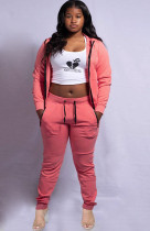 Casual Hooded Zipper Two Piece Pants Set SFY-177