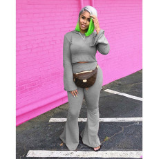 Plus Size 4XL Casual Fashion Solid Color Hooded Flared Pants Two Piece Set YFS-7252