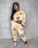 Fashion Letter Printed Sports Sweatshirt Two Piece Set XYF-9058