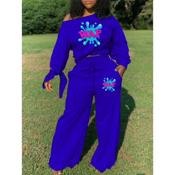 Casual Solid Color Print Tie a Knot Long Sleeve Top And Wide Leg Pants Set SHD-9331