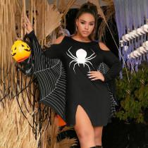 Sexy Halloween Long Sleeve Spider Print Dress SH-3895