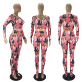 Casual Sports Pattern Print Long Sleeve Top And Leggings Pants Two Piece Set SHD-9445