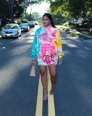 Casual Printed Long Sleeve Hoodies Dress MTY-6392