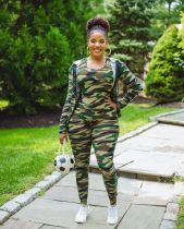Plus Size Camo Tank Tops+Hooded Coat+Pants 3 Piece Sets YM-9250