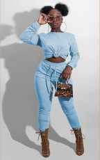 Plus Size Solid Long Sleeve O Neck Two Piece Pants Set YM-9249