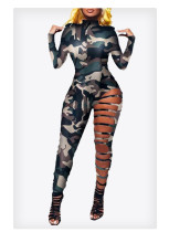 Sexy Camo Print High Collar Hollow Jumpsuits MIF-9014
