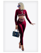 Sexy Mesh Patchwork Two Piece Pants Set MIF-9019