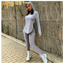 Solid Hooded Split Hem Top And Pants 2 Piece Suits MIF-9010