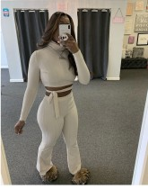 Solid Turtleneck Long Sleeve Two Piece Pants Set MIF-9006
