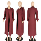 Plus Size Solid Long Coat+Tube Jumpsuits Two Piece Sets PIN-8508