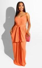 Sexy Solid Sleeveless Slip Maxi Dress With Headscarf BDF-8004
