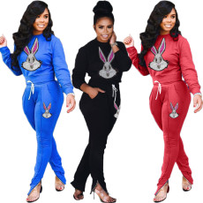 Fashion Rabbit Sequins Casual Sports Two Piece Set DSF-6041