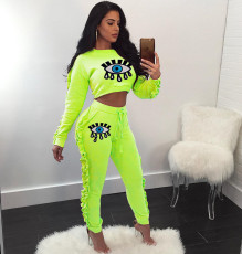 Casual Sexy Eye Sequins Print Two Piece Set DSF-6037