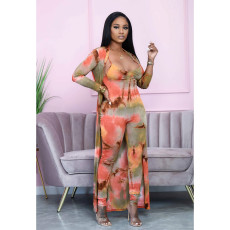 Sexy Tie Dye Jumpsuit+Long Cloak 2 Piece Suits BDF-8022