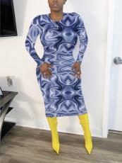 Casual Printed Long Sleeve Slim Midi Dress QZX-6171