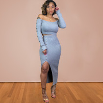 Plus Size Sexy Rib Split Long Skirt 2 Piece Sets BDF-8024