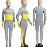 Casual Patchwork Long Sleeve 2 Piece Pants Set LM-8200