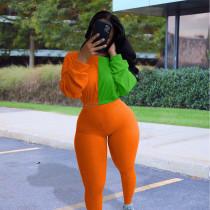 Contrast Color Long Sleeve 2 Piece Pants Set MOY-5277