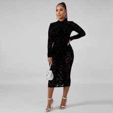 Sexy See Through Long Sleeve Midi Dress PN-6619
