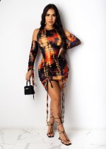 Sexy Tie Dye Offf Shoulder Ruched Mini Dress YSF-430