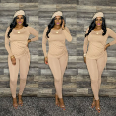 Solid Long Sleeve Casual Two Piece Pants Set YIS-517