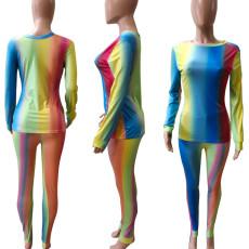 Tie Dye Long Sleeve Casual Two Piece Pants Set BDF-8001